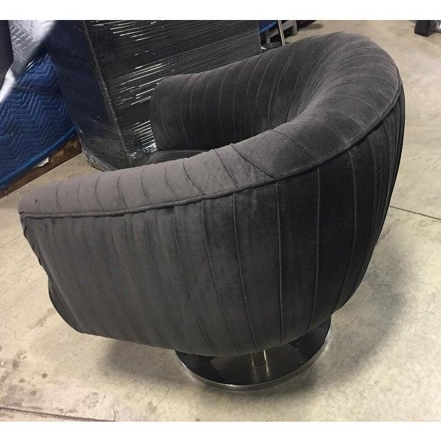 Custom Dark Gray Velvet Swivel Chair by Nathan Anthony For Sale - Image 4 of 6