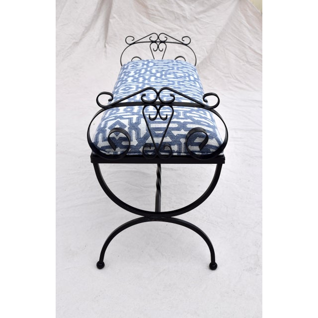 Wrought Iron Curule Base Bench For Sale In Philadelphia - Image 6 of 9