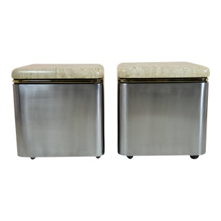 Custom Steel and Travertine Marble Tables - a Pair