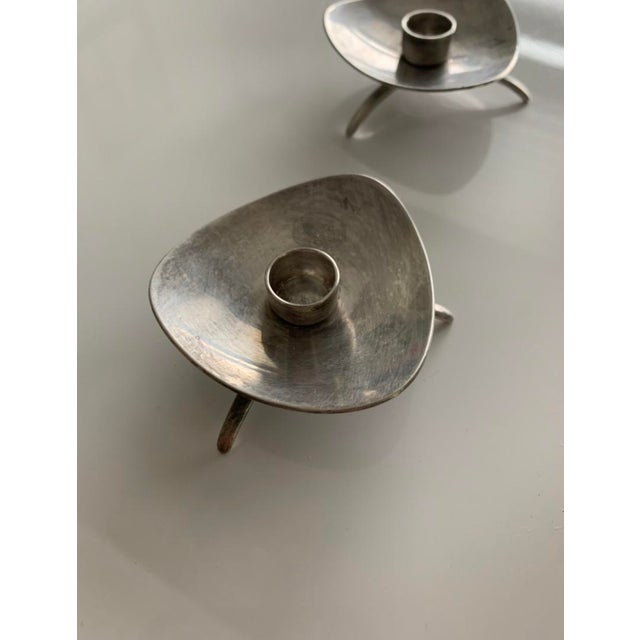 Mid-Century Modern Mid-Century Atomic Cohr Denmark Silverplate Mini Candlestick Holders - Set of 4 For Sale - Image 3 of 5