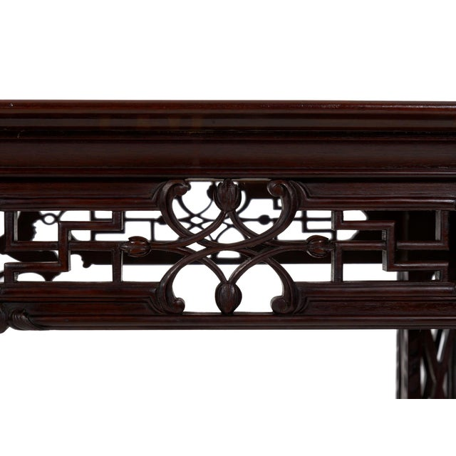 Carved Mahogany English Antique Library Console Table For Sale - Image 10 of 13