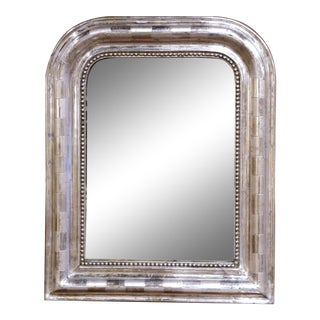 19th Century Louis Philippe Silver Leaf Petite Mirror With Engraved Stripe Decor For Sale