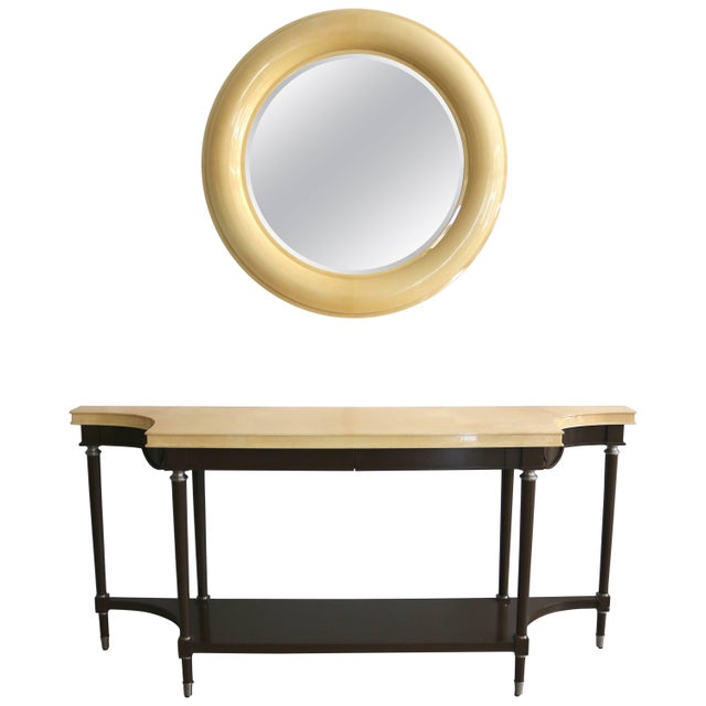 Art Deco Revival Goatskin Lacquered Console & Mirror by Lucien Rollin for William Switzer For Sale - Image 11 of 11