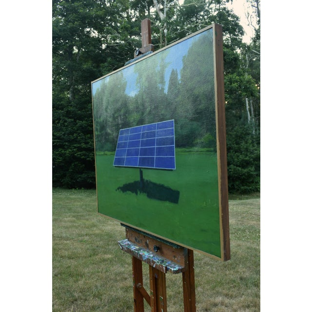 """White """"Solar Panel in a Field"""", Contemporary Painting by Stephen Remick For Sale - Image 8 of 12"""