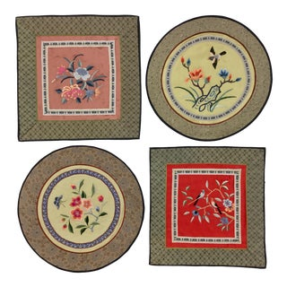 1960s Vintage Chinese Pure Silk Embroidered Place Settings - Set of 4 For Sale