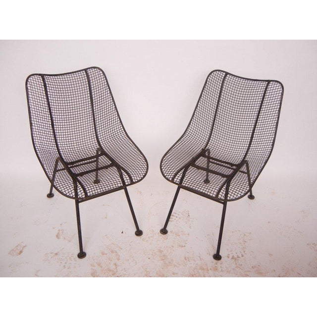 Mid-Century Modern Russell Woodard Mid-Century Modern Wrought Iron & Mesh Chairs For Sale - Image 3 of 4