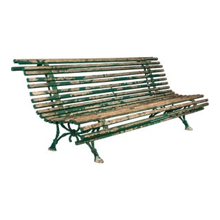 19th Century French Cast Iron Garden Bench For Sale