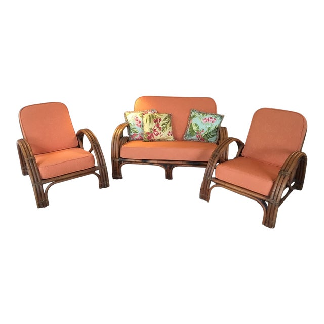 Vintage Mid Century Rattan Set Chairs & Loveseat For Sale
