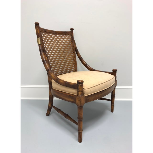 Vintage Mid Century Faux Bamboo Caned Lounge Chair For Sale - Image 11 of 12