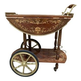 Mid Century Vintage Italian Inlay Wood Bar Cart For Sale