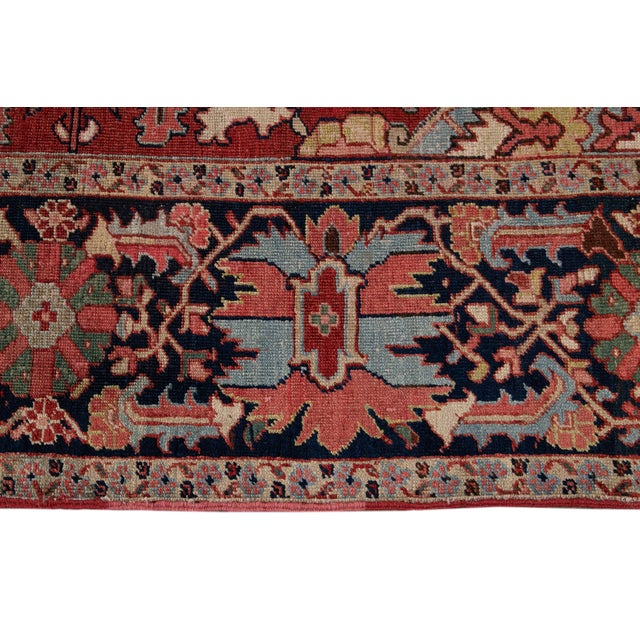 Early 20th Century Antique Persian Heriz Wool Rug For Sale In New York - Image 6 of 13