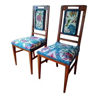Reupholstered Late 19th Century Italian Art Nouveau Accent Chairs - a Pair For Sale