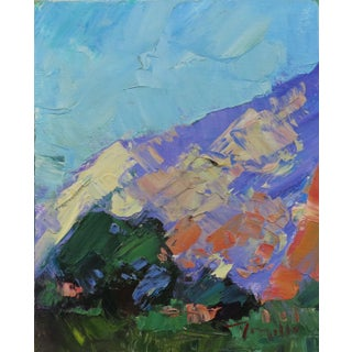 """""""Trees and Mountain"""" Contemporary Landscape Oil Painting by Jose Trujillo For Sale"""