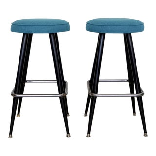 Mid-Century Modern Teal Tweed Bar Stools - A Pair For Sale
