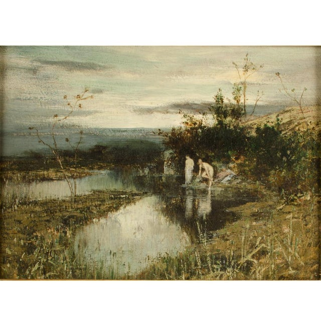 """19th Century 19th Century """"Quick Dip"""" Figurative Oil Painting, Framed For Sale - Image 5 of 13"""