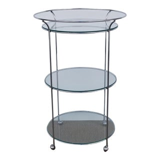 Vintage Three Tier Chrome and Glass Round Bar Cart For Sale