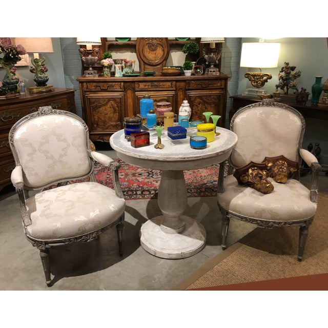 """Pair of French chairs with original paint and new upholstery. Circa 1860 25"""" Wide x 22"""" Deep x 32"""" High Seat Height 16"""""""
