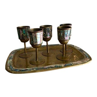 1940s Vintage Hollywood Regency Cordial Glass & Tray Set - 6 Pieces For Sale