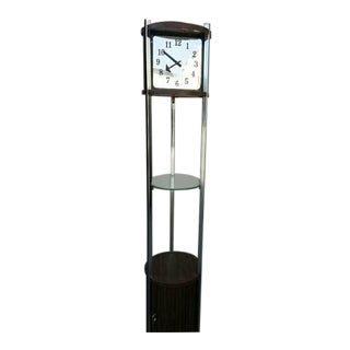 1960s Vintage Nelson Hands Chrome & Wood Grain Finish Column Clock For Sale
