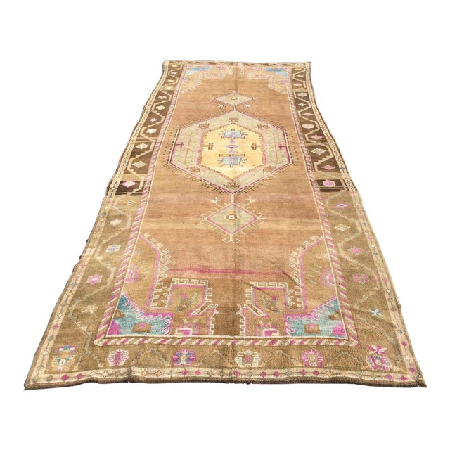 Hand Knotted Brown Turkish Rug For Sale