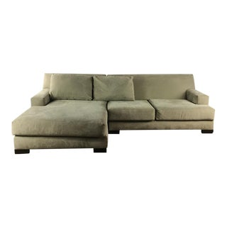 Nathan Anthony Contemporary Upholstered Suede Sectional Sofa For Sale