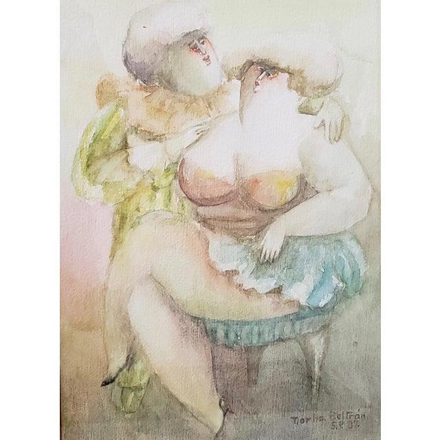 "Norha Beltran (Bolivia, 20th c.) ""Two Women"" Original Watercolor c.1980s Original watercolor on paper. Dimensions 10.5"" x..."