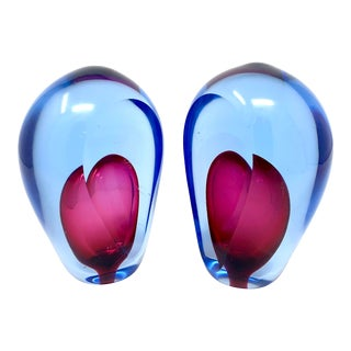 Murano Sommerso Glass Bookends by Alfredo Barbini - a Pair For Sale