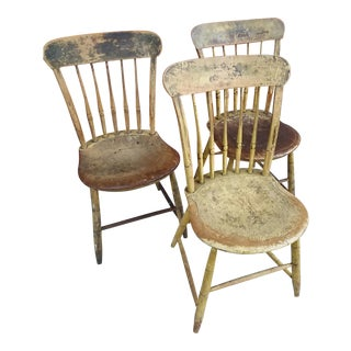 1930s Vintage Cottage Distressed Farmhouse Chairs - Set of 3 For Sale
