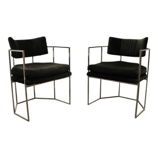 Pair of Milo Baughman for Thayer Coggin Chrome Armchairs For Sale