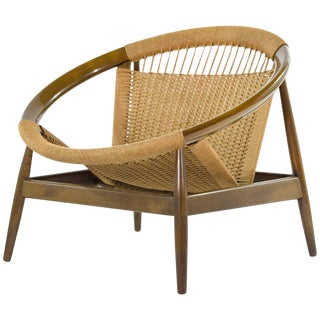 Illum Wikkelso Ringstol Number 23 Teak and Woven Cord Ring Chair For Sale