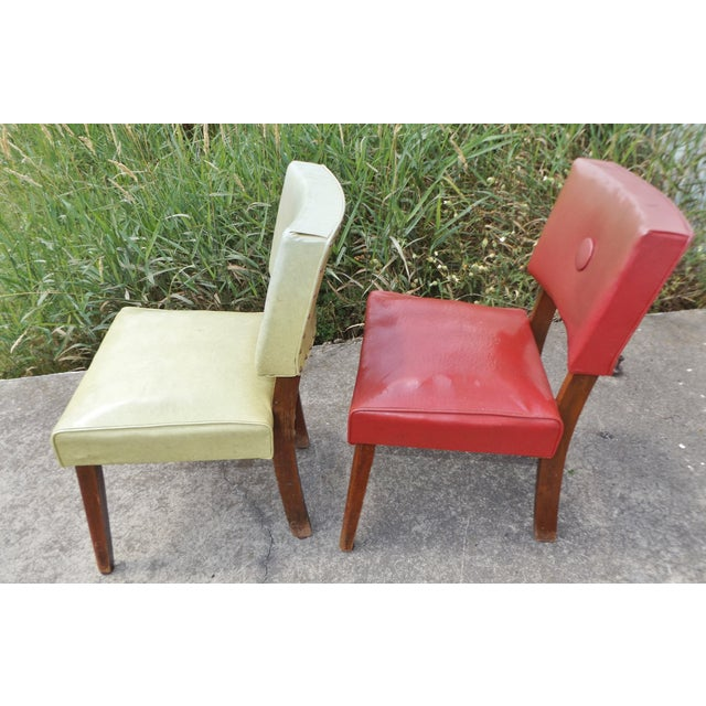 Retro Mid-Century Vinyl Accent Chairs - A Pair - Image 7 of 11