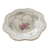 Image of Sumi Romania Reticulated White Porcelain Bowl With Hand Painted Flowers For Sale