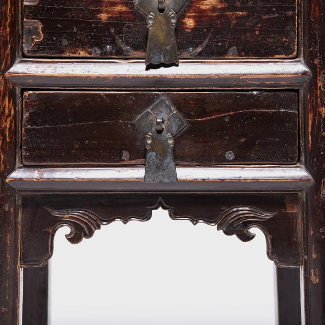 Brown 19th Century Chinese Shanxi Tall Petite Cabinets - a Pair For Sale - Image 8 of 13