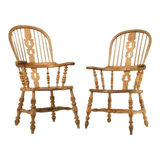 Circa 1820 Original Antique English His & Her's Elm/Oak Windsor Chairs - a pair For Sale