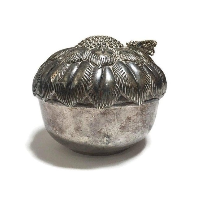 Mid Century Silver Flower Jewelry Box For Sale - Image 9 of 10