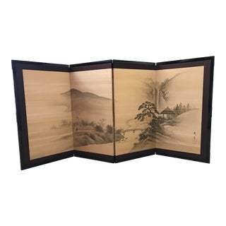 Asian Chinoiserie Painted Silk 4 Panel Folding Screen For Sale
