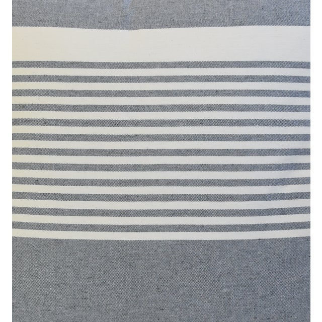 """Early 21st Century French Gray & White Nautical Striped Feather/Down Pillows 22"""" Square - Pair For Sale - Image 5 of 12"""