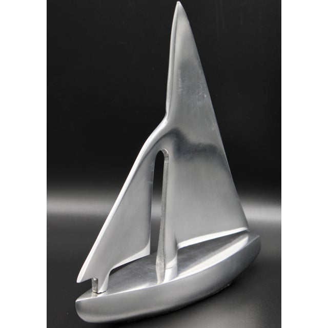 Mid-Century Modern Mid-Century Chrome Stylized Sailboat Model For Sale - Image 3 of 11