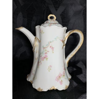 Antique French Limoges Porcelain Tea Pot With Petite Pink Roses, Blue Scrolls and 24k Gold Trim Preview