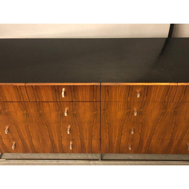1960s Hollywood Regency Style Rougier Rosewood and Black Lacquer Credenza Chest Server For Sale - Image 5 of 10