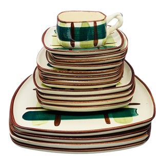 1950s Blair Ceramics Hand Painted Gay Plaid Dinnerware - 25 Pieces For Sale