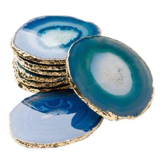 Set of Eight Semi-Precious Teal Gemstone Coasters in Wrapped in 24-Karat Gold For Sale