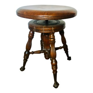 Late 19th Century Victorian Parlor Piano Stool For Sale