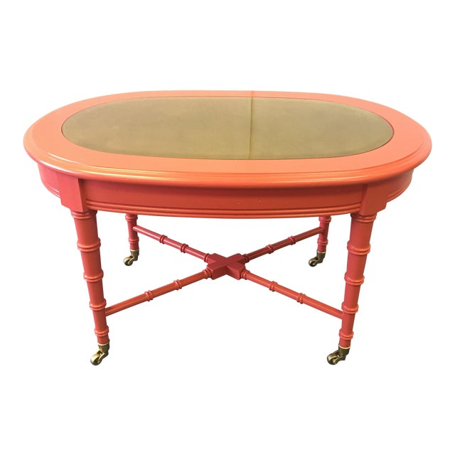 Classic 1960's Oval Faux Bamboo and Cane Regency Revival Table For Sale