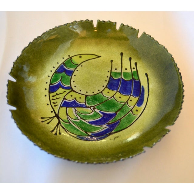 A fantastic fun bowl or ashtray made by the American artists duo Curtis Jeré. It is a large 11 inch round, signed.