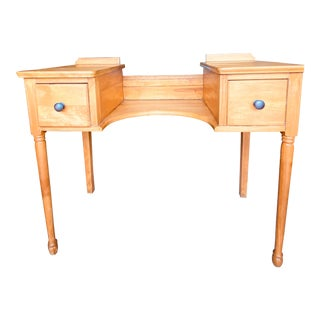 Late 20th Century Vintage Wooden Vanity With Curved Tabletop For Sale