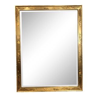 1987 Labarge (Usa) Handpainted Gilt Beveled Glass Mirror For Sale