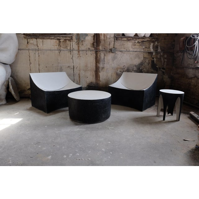 Contemporary Cast Resin 'Millstone' Coffee Table, Bw Finish by Zachary A. Design For Sale - Image 3 of 7
