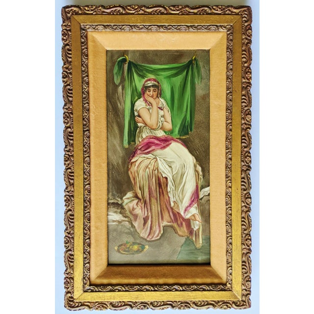 Late 19th Century German Hand Painted Figurative Porcelain Plaque, Framed For Sale - Image 12 of 12