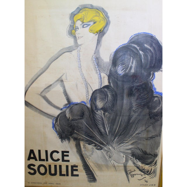 """Charcoal Antique 1926 Multimedia Poster by Jean Gabriel Domerge """"Alice Soulie"""" Watercolor Gouache Charcoal on Paper With Christie's Coa For Sale - Image 8 of 13"""